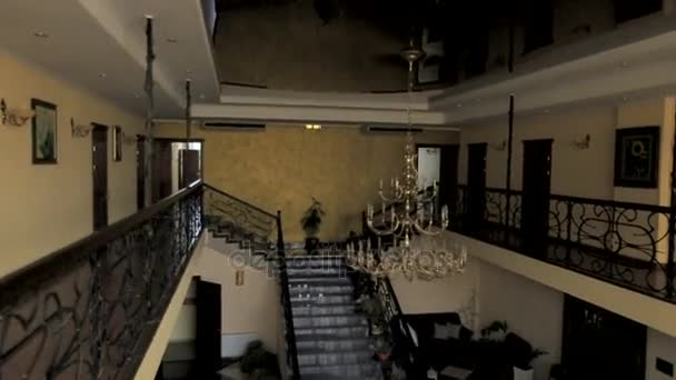 Beautiful interior of the hotel with a large chandelier