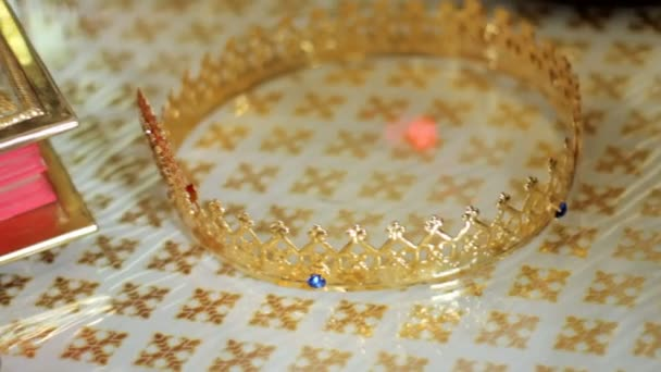 Wedding crowns of marriage prepared. Close-up