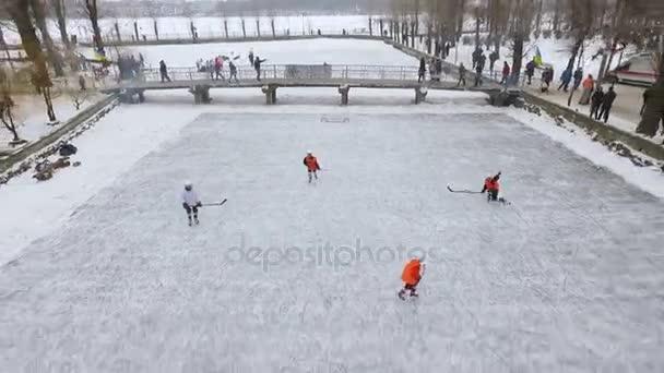 Letecký pohled na město zimní park. muži hrají hokej na zamrzlém jezeře v městském parku. Zimní rodinnou zábavu. Zimní sporty. Lední hokej. Zimní aktivity. Zimní hra
