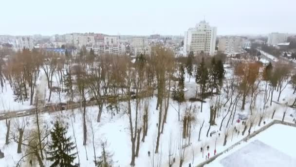 Aero pohled na zimní městského parku. Muži hrají hokej. Pojem aktivní zimní rekreace.