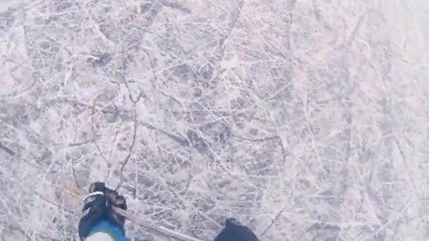 Hokejový zápas s akční kamery na hlavu
