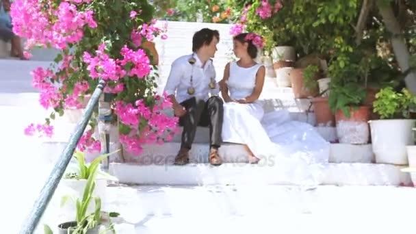bride and groom on the street. tender feelings. Wedding day.