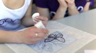 nő, rajz, Tűzzománc pillangó, üveg, zár-megjelöl