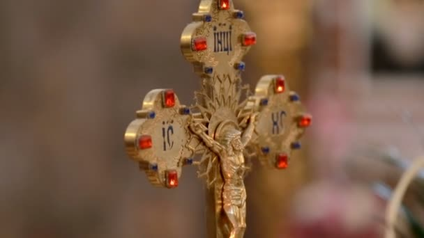 Church Cross and church attributes for marriage. Close-up