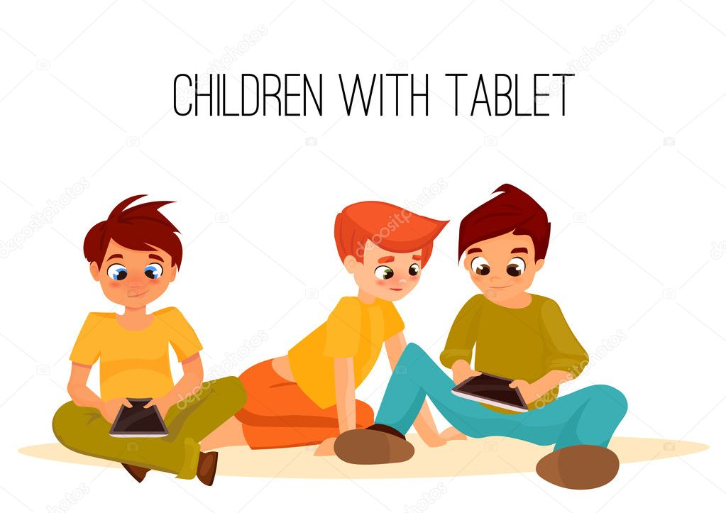 Children boys played in tablet. children sit and chat on Internet. gadget addiction. video games. cartoon character stock vector