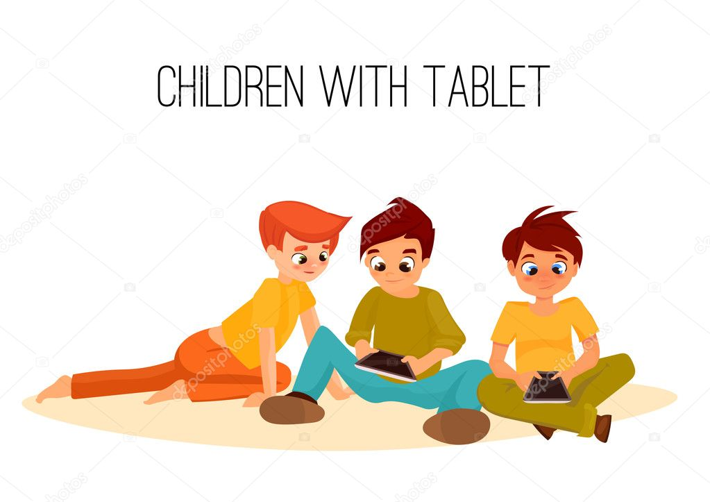 3 Children boys played in tablet. children sit and chat on Internet. gadget addiction. video games. cartoon character stock vector