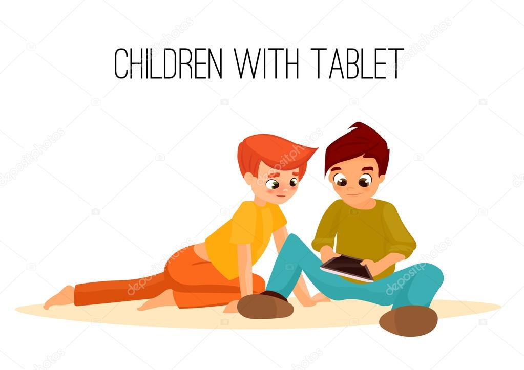 Children boys played in tablet. children sit and chat on Internet. gadget addiction. video games. cartoon character. internet addiction stock vector