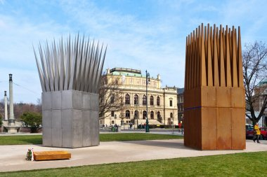 Memorial to Jan Palach, Ales embankment, Old Town (UNESCO), Prague, Czech Republic. Sculptural composition of the Sons and MothersvHouses by sculptor John Heyduk.