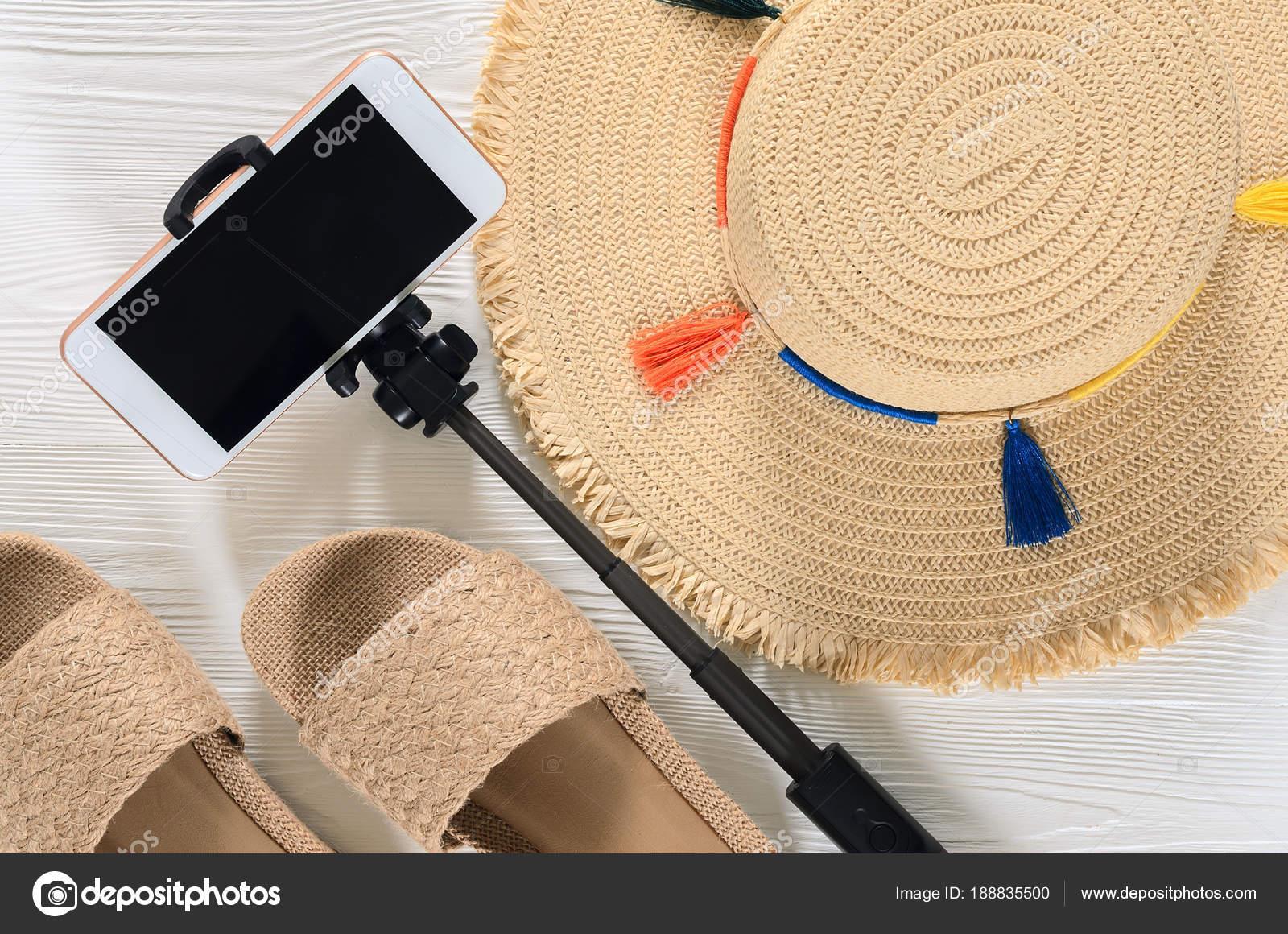 Womens Verão Acessórios E Sandálias Chapéu De Palha Celular Sel