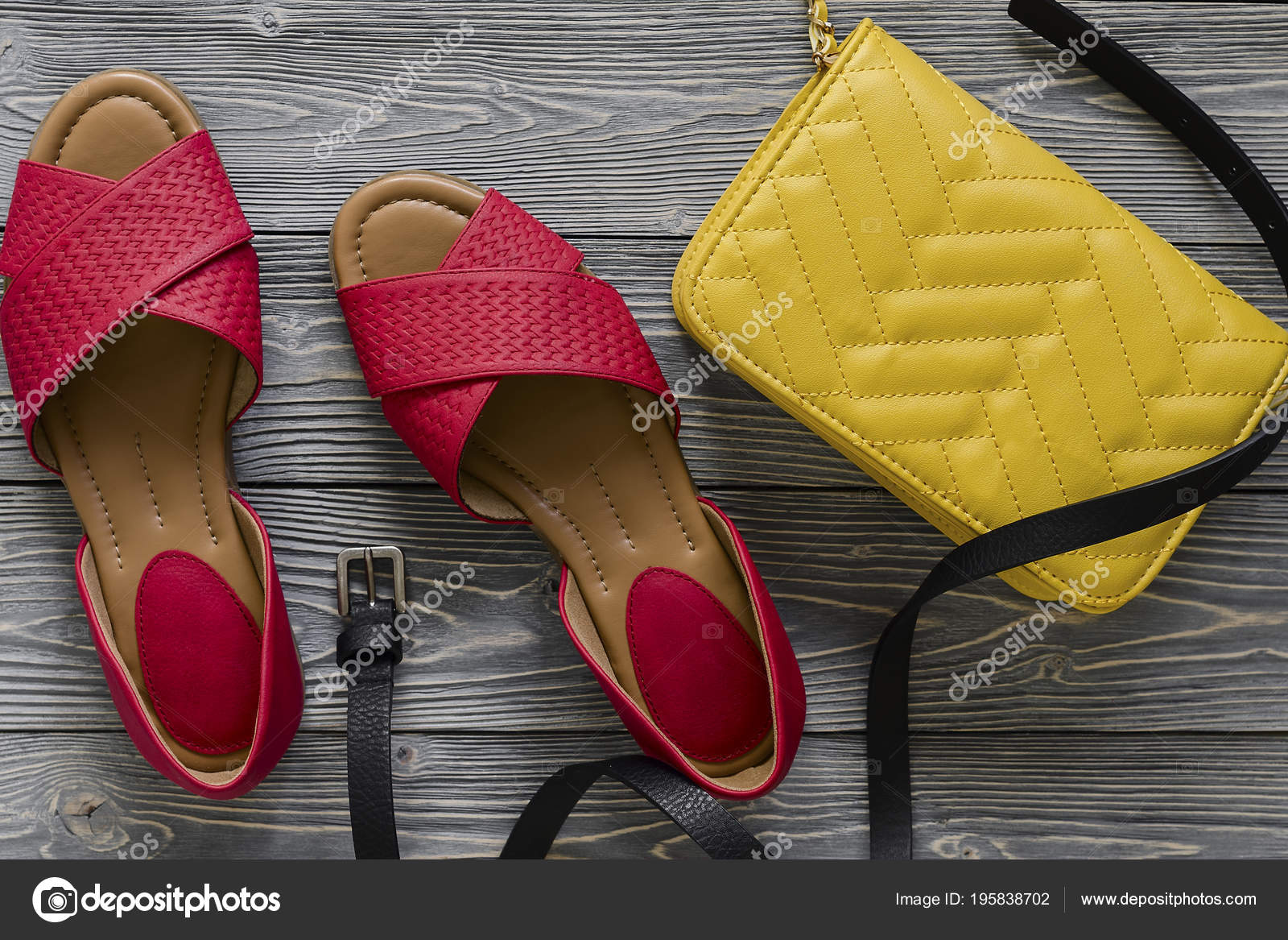 5828ed7eac72 Womens Leather Shoes Accessories Red Flat Sandals Yellow Handbag Black —  Stock Photo
