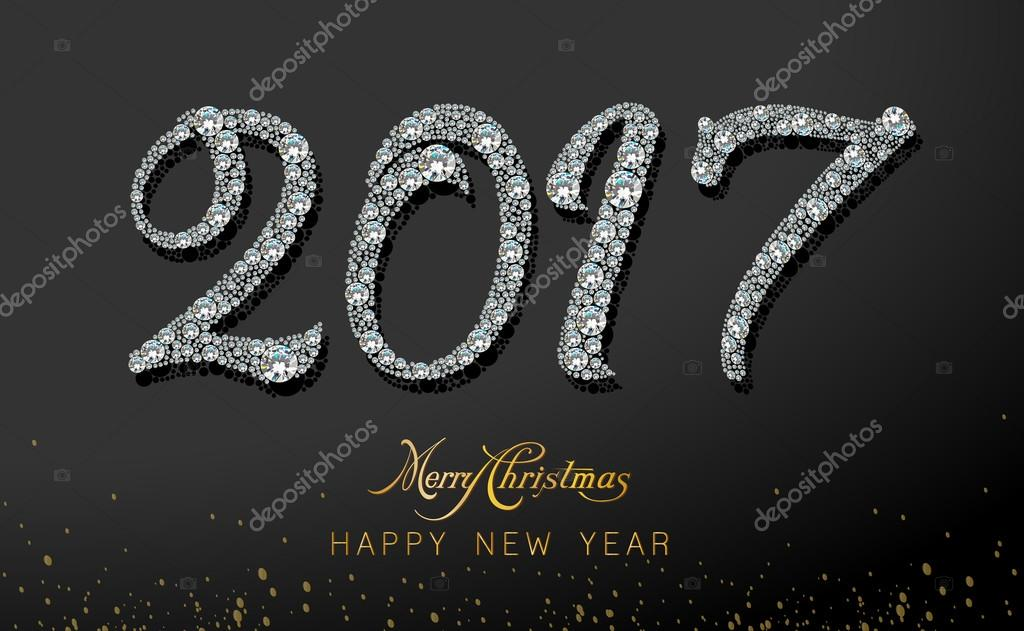 Merry Christmas And Happy New Year 2017 Ideal For Xmas Card Or