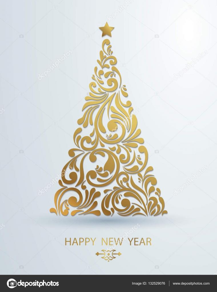 Decorazione Albero Di Natale Dorato Stilizzato Fatto Dal Turbinio Di