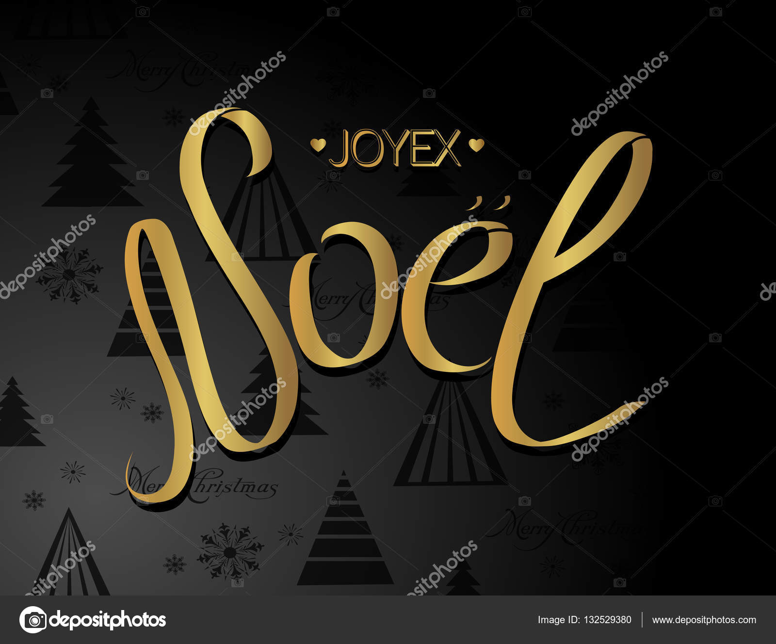 Merry Christmas Card Template With Greetings In French Language