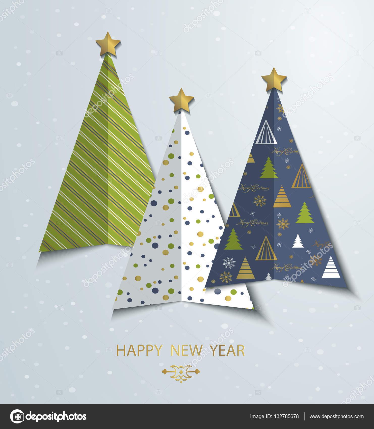 Bunte stilisierte Weihnachtsbaum Grußkarten-Hintergrund. Neujahr ...