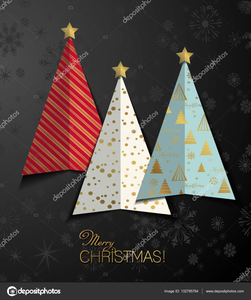 Bunte stilisierte Weihnachtsbaum Grußkarten-Hintergrund. Frohe ...