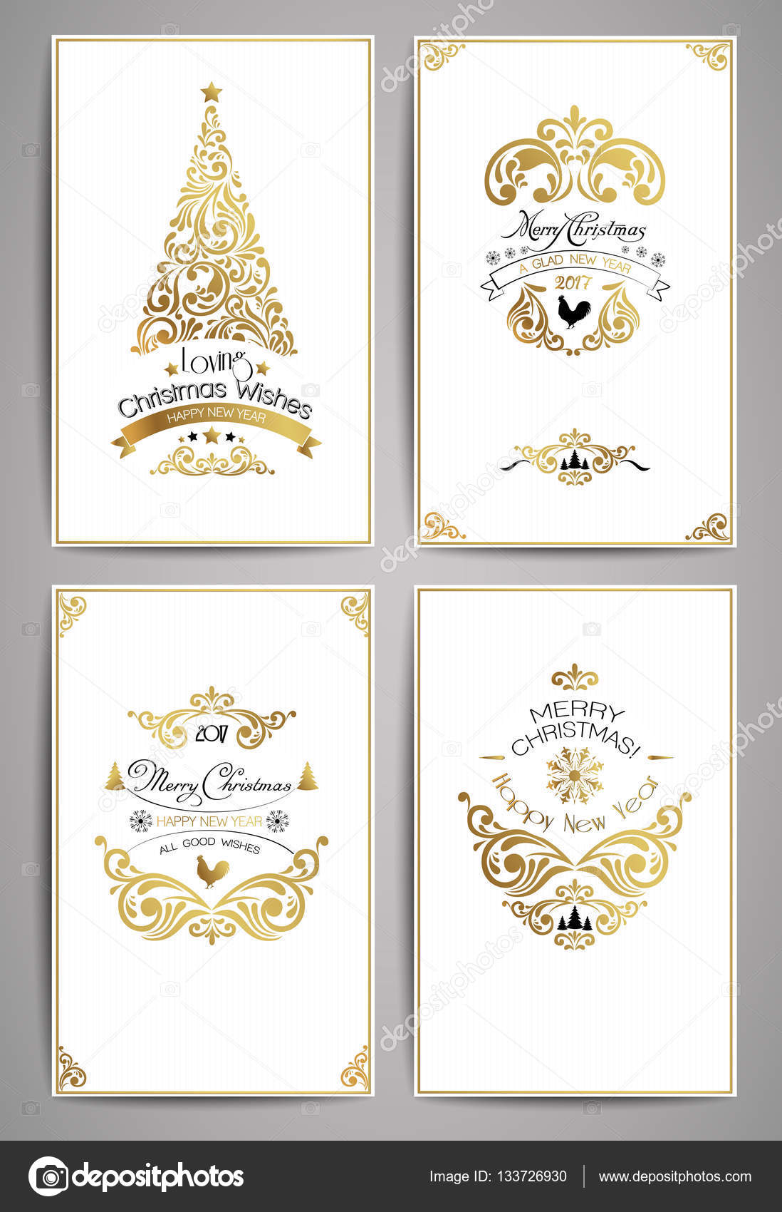 Ornate holidays greeting cards. Golden ornaments and typographic ...