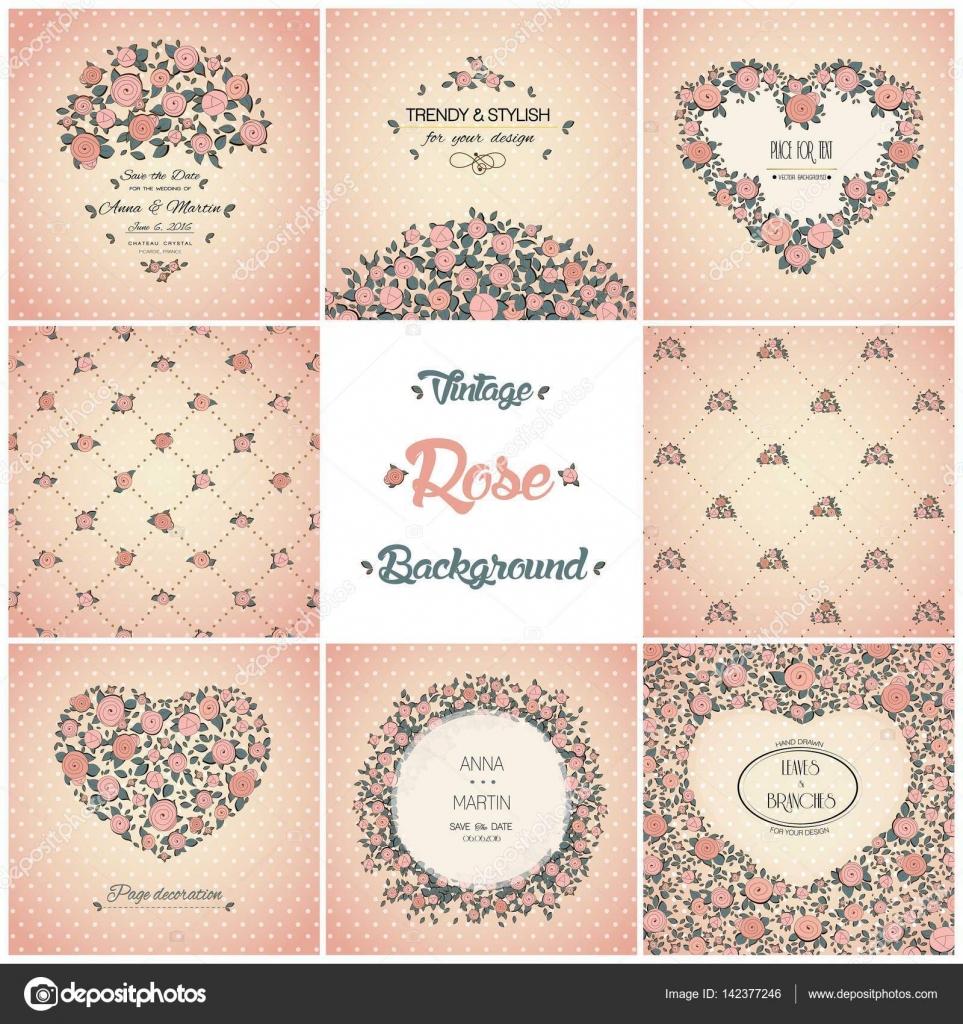 Conjunto de tarjetas vintage vector con lindas rosas. Invitación ...