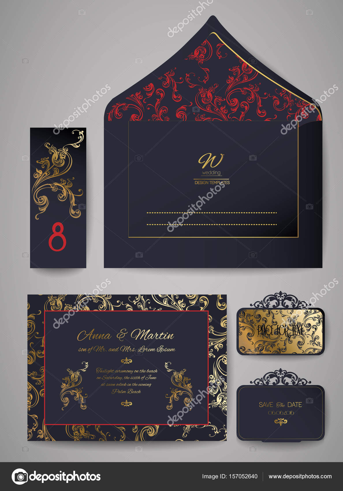 template wedding invitation and envelope with floral golden ornament
