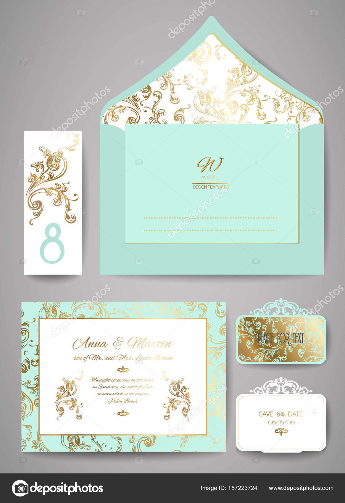 set of template wedding invitation and envelope with floral golden
