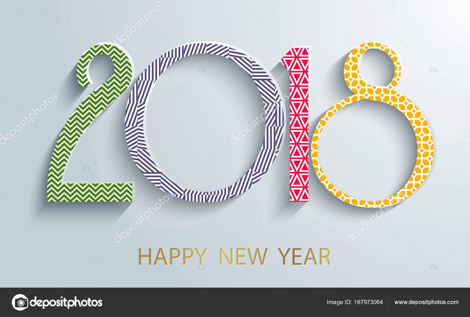 happy new year 2018 background paper white design with shadows decorative background for christmas