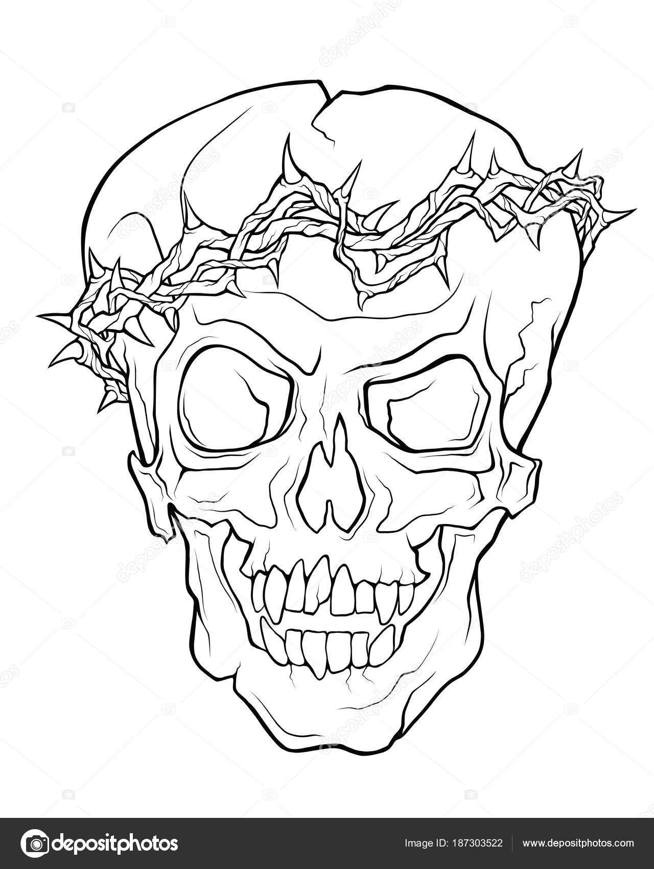 Dibujo De Corona De Espinas Para Imprimir El Cráneo De Un Vampiro