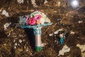 Svatební květiny a krásné boty dekorace
