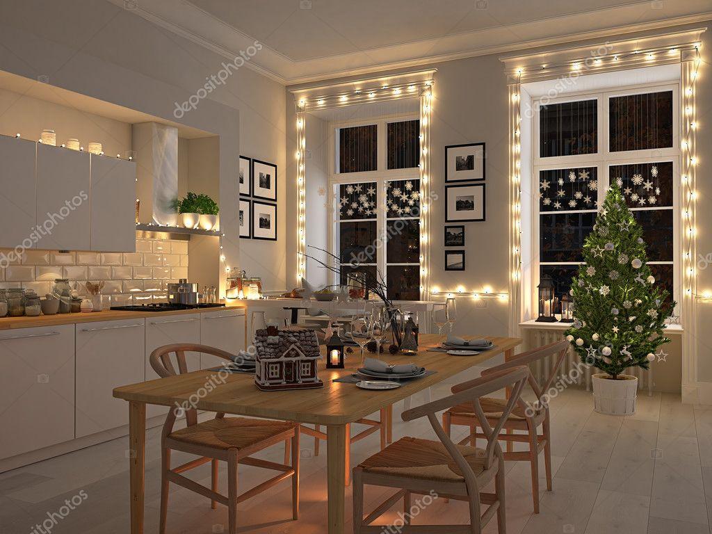 Scandinavische keuken met decoratie van kerstmis door de nacht. 3d