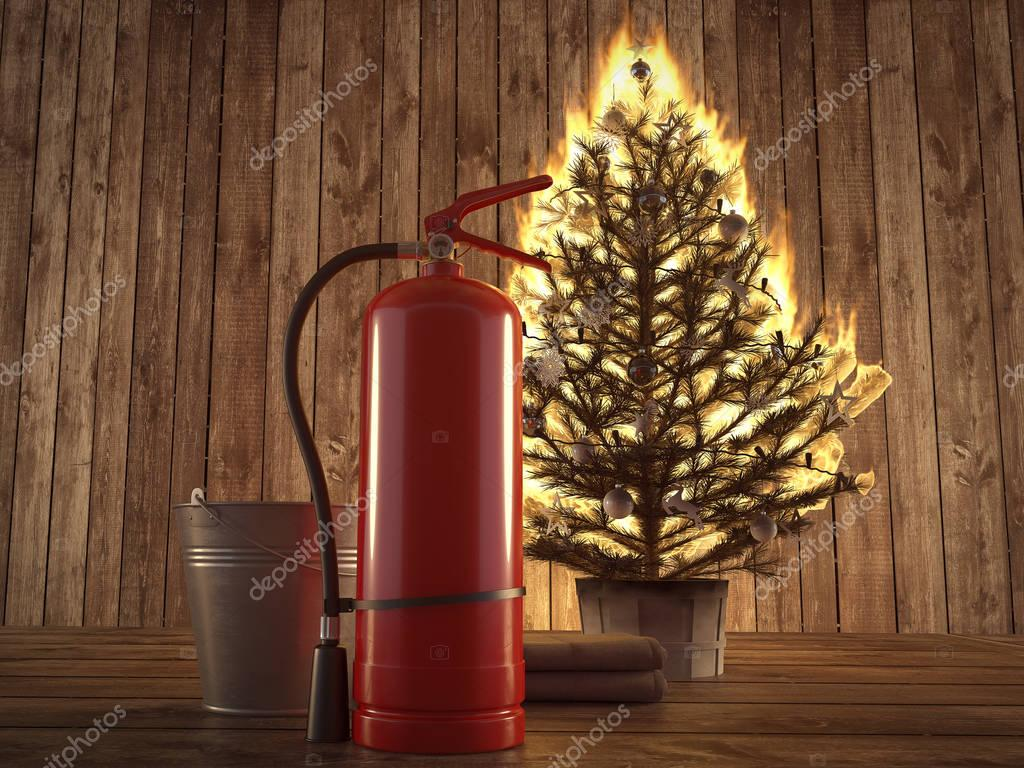 burning christmas tree with extinguisher and bucket beside. 3d rendering