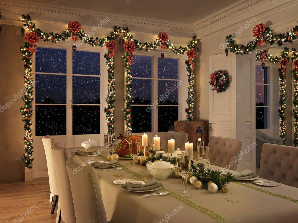 노르딕 식당 테이블 밤 크리스마스 장식입니다. 3 차원 렌더링 ...