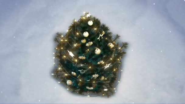 3d rendering of a shiny christmas tree in the woods.