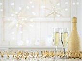 Fotografie dvě sklenice šampaňského a láhev. 3D vykreslování