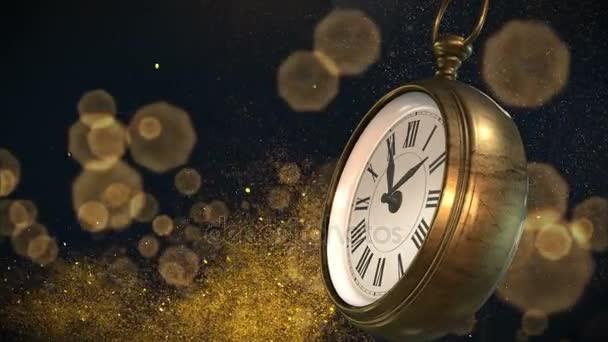 Nový rok s ohňostrojem o půlnoci. 3D vykreslování