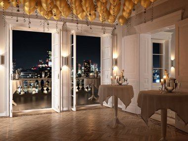 new years party in a luxury apartment. 3d rendering