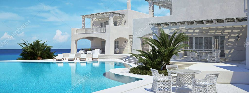 Villa with swimming pool. summer concept. 3d rendering