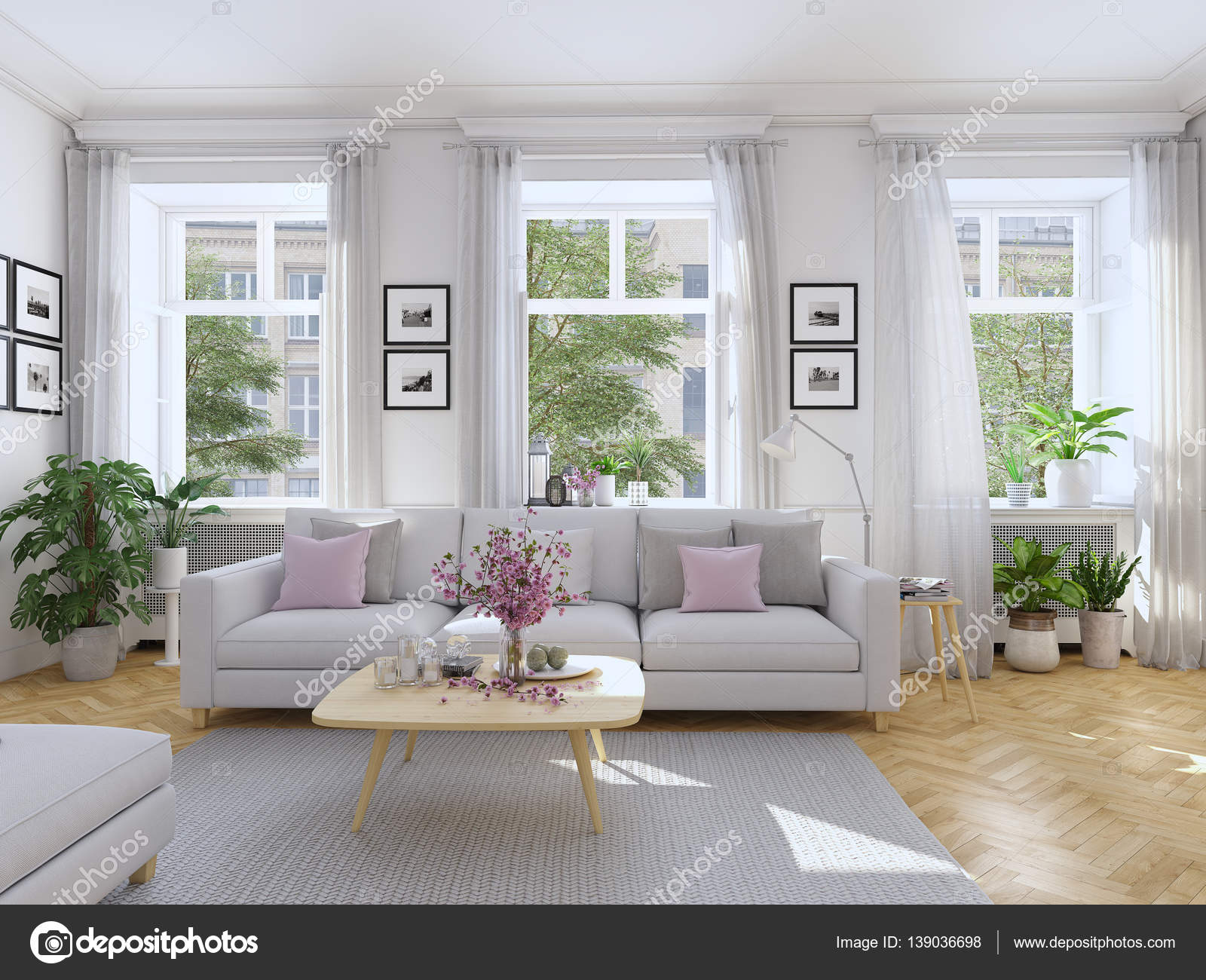 moderne Wohnzimmer im Stadthaus. 3D-Rendering — Stockfoto © 2mmedia ...