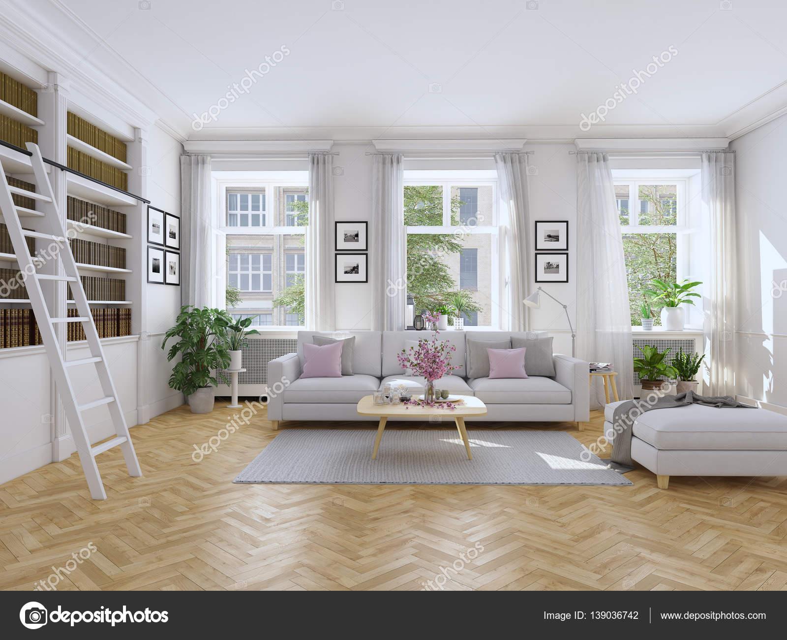 Nowoczesny salon w kamienicy renderowania 3d zdj cie for Wohnzimmer klassisch einrichten