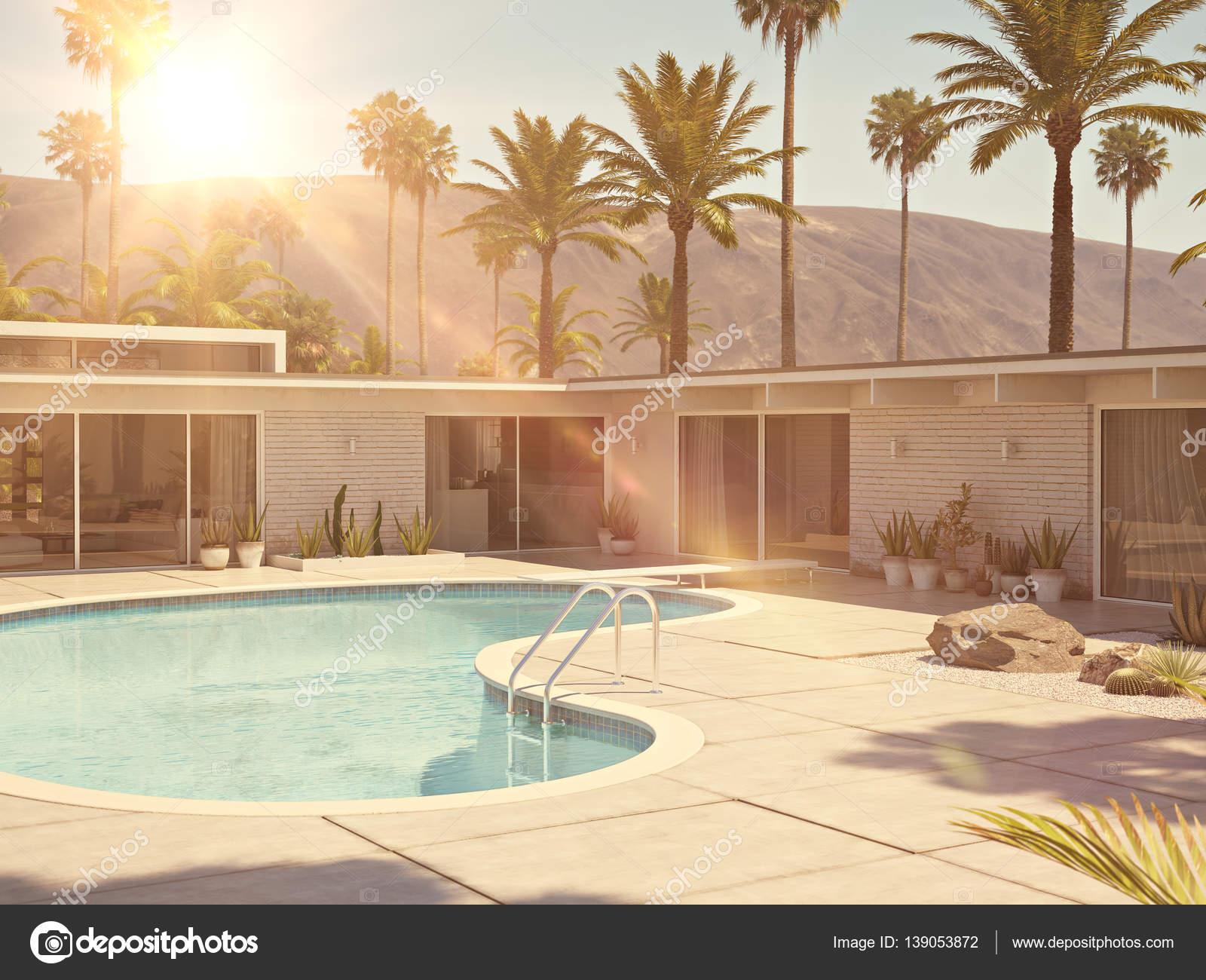 Uitzicht op zwembad en moderne huis buitenkant d rendering