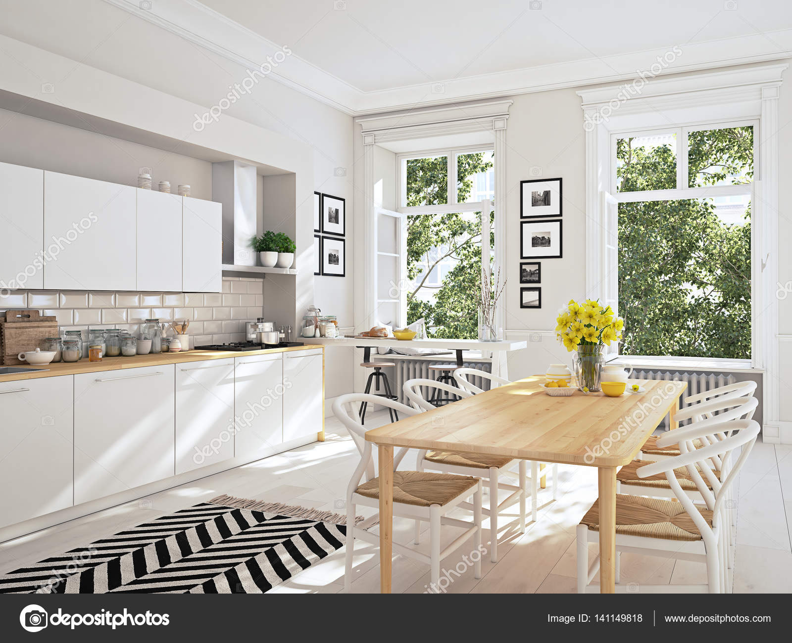 Moderne nordische küche in loft wohnung. 3d rendering u2014 stockfoto