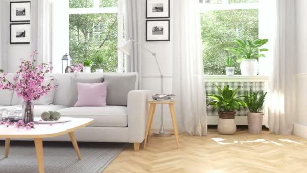 Skandinávská moderní obývací pokoj v městském domě. 3D vykreslování