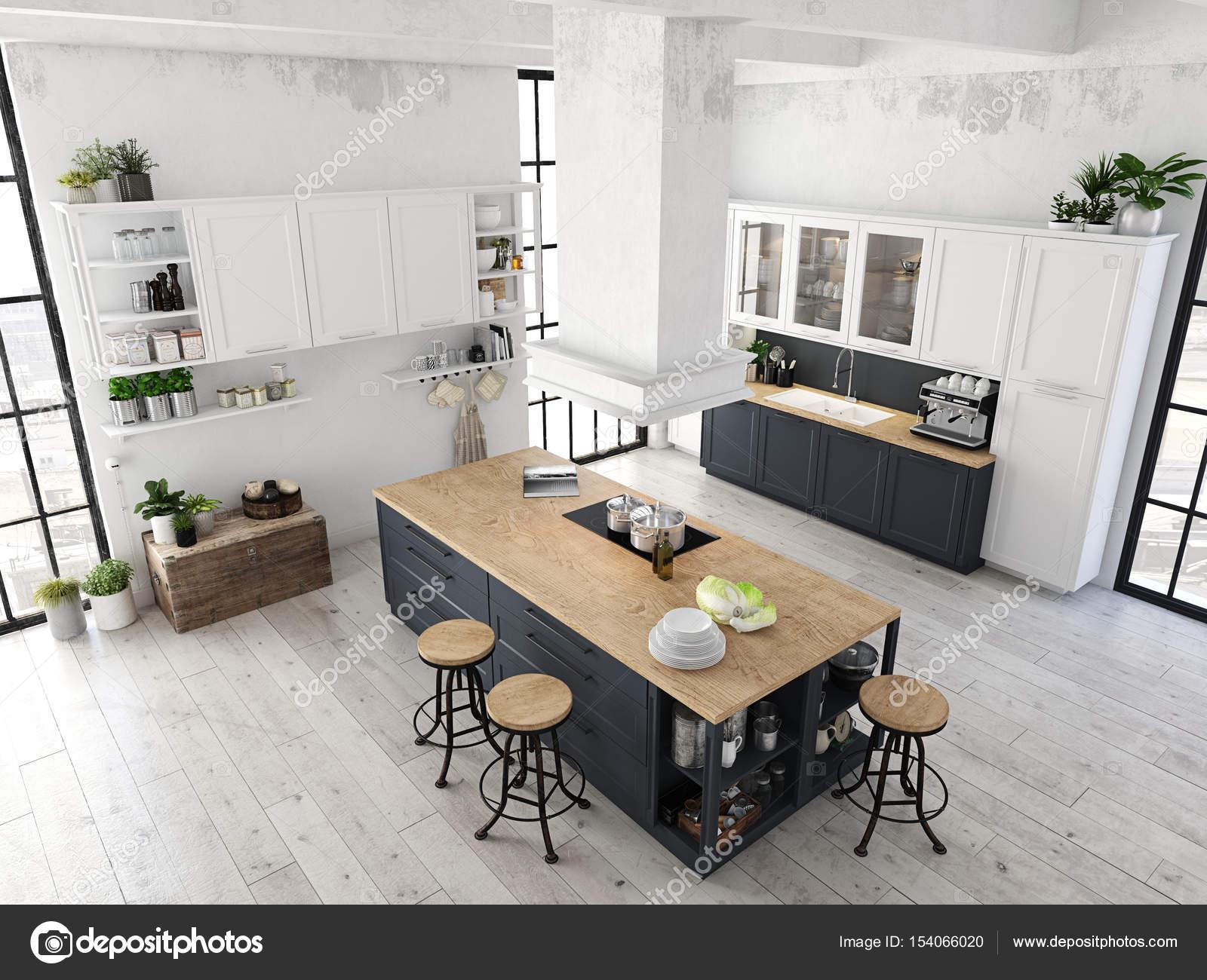 modern nordic kitchen in loft apartment. 3D rendering — Stock Photo ...