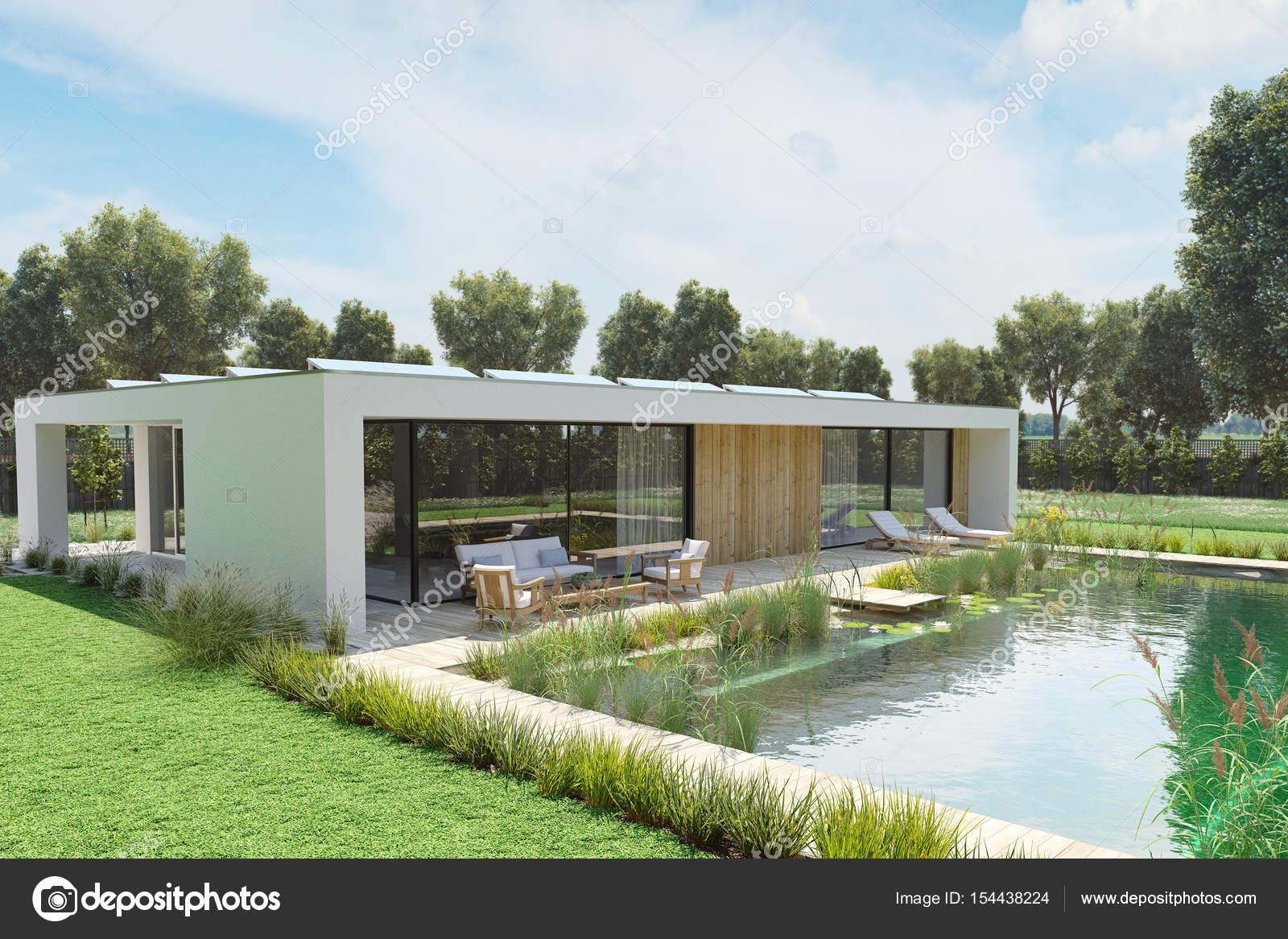 Casa moderna com piscina ambiental renderiza o 3d for Casa moderna piscina
