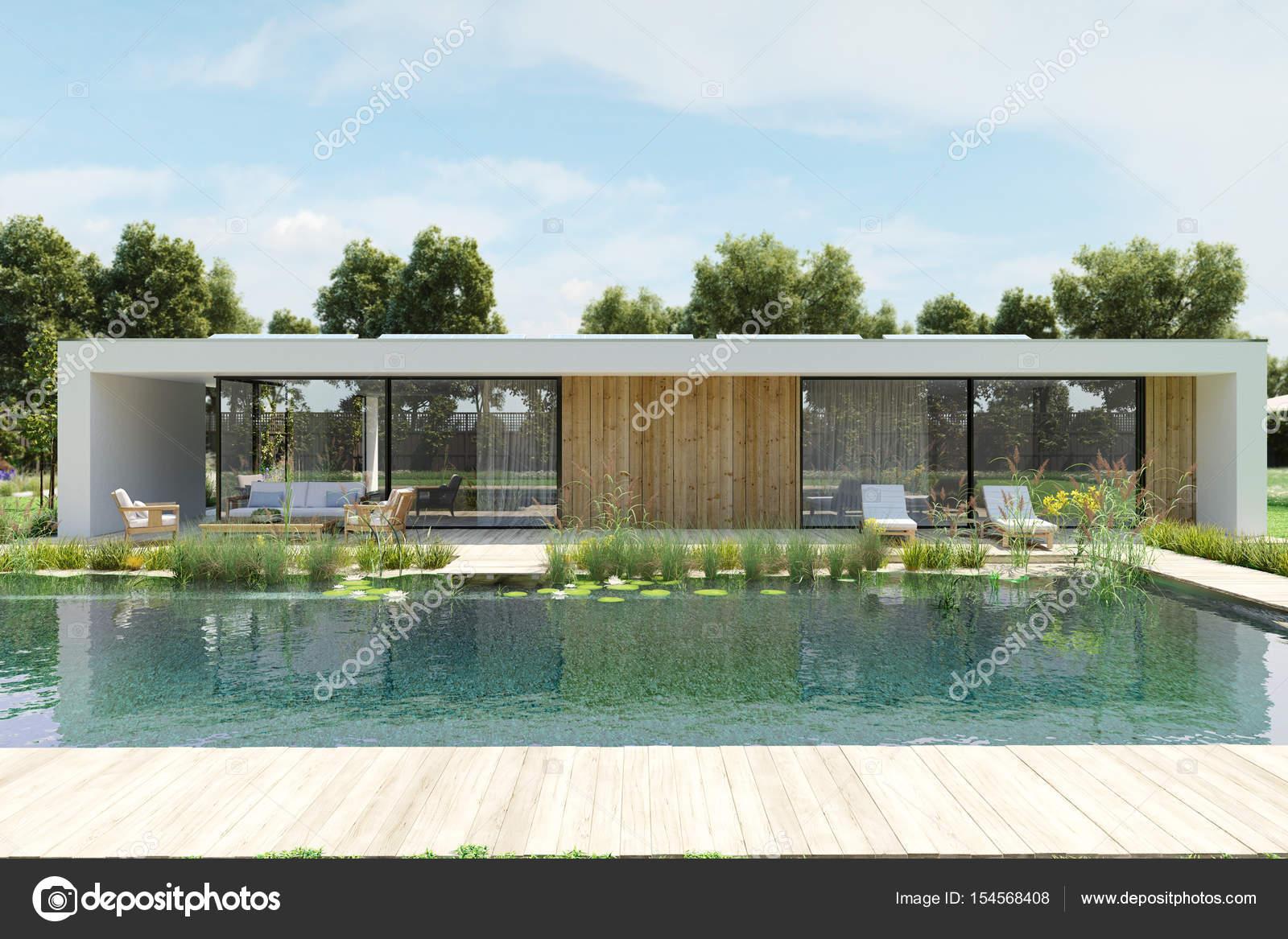 Casa moderna con piscina ambientale rendering 3d foto for Casa moderna piscina