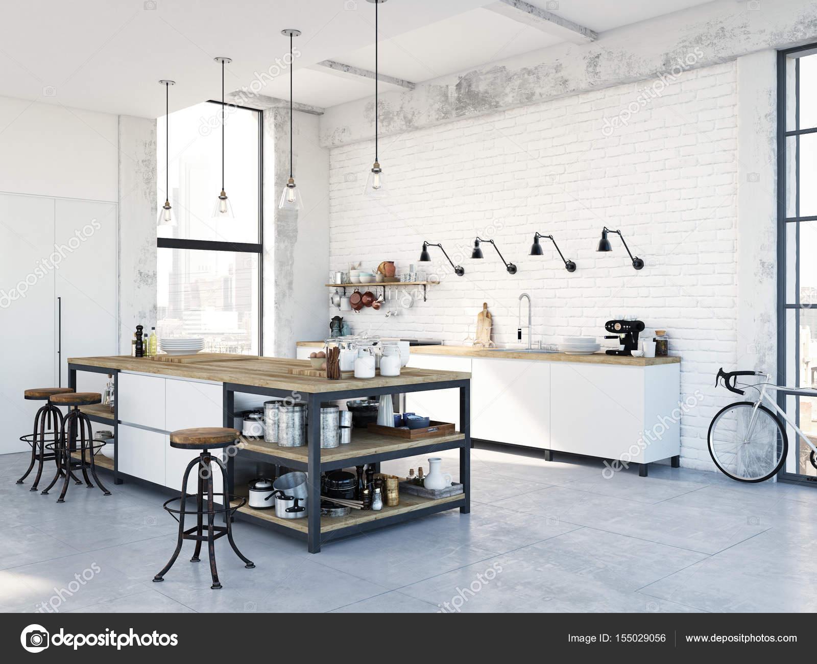 moderne nordische Küche in Loft-Wohnung. 3D-Rendering — Stockfoto ...