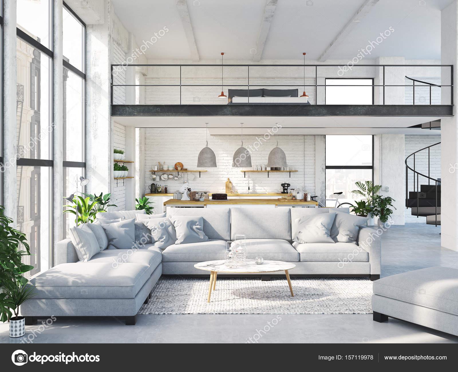 appartamento loft moderno rendering 3d foto stock 2mmedia 157119978. Black Bedroom Furniture Sets. Home Design Ideas