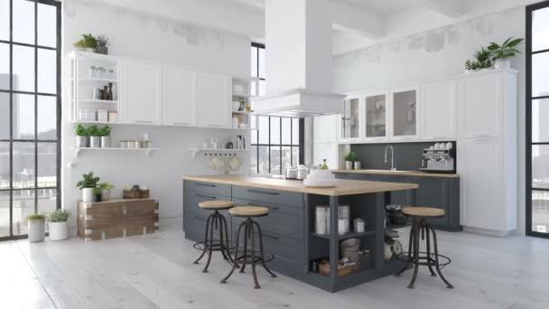 loft apartman modern skandináv konyha. 3D-leképezés