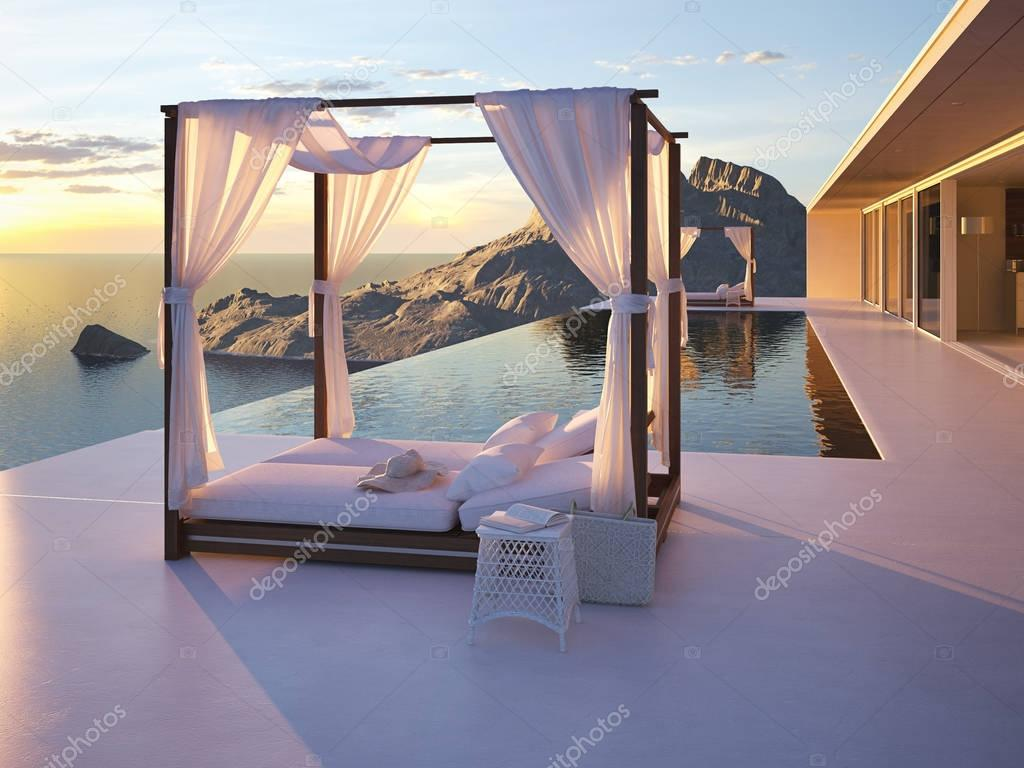 beautiful sunset at the infinity pool. 3d rendering