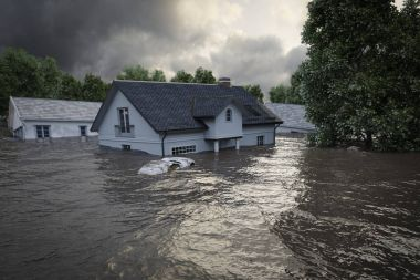 3d rendering. flooding houses