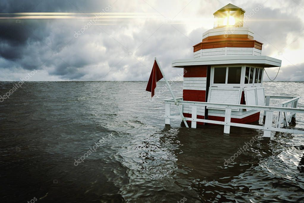 small lighthouse with stormy sky. 3d rendering
