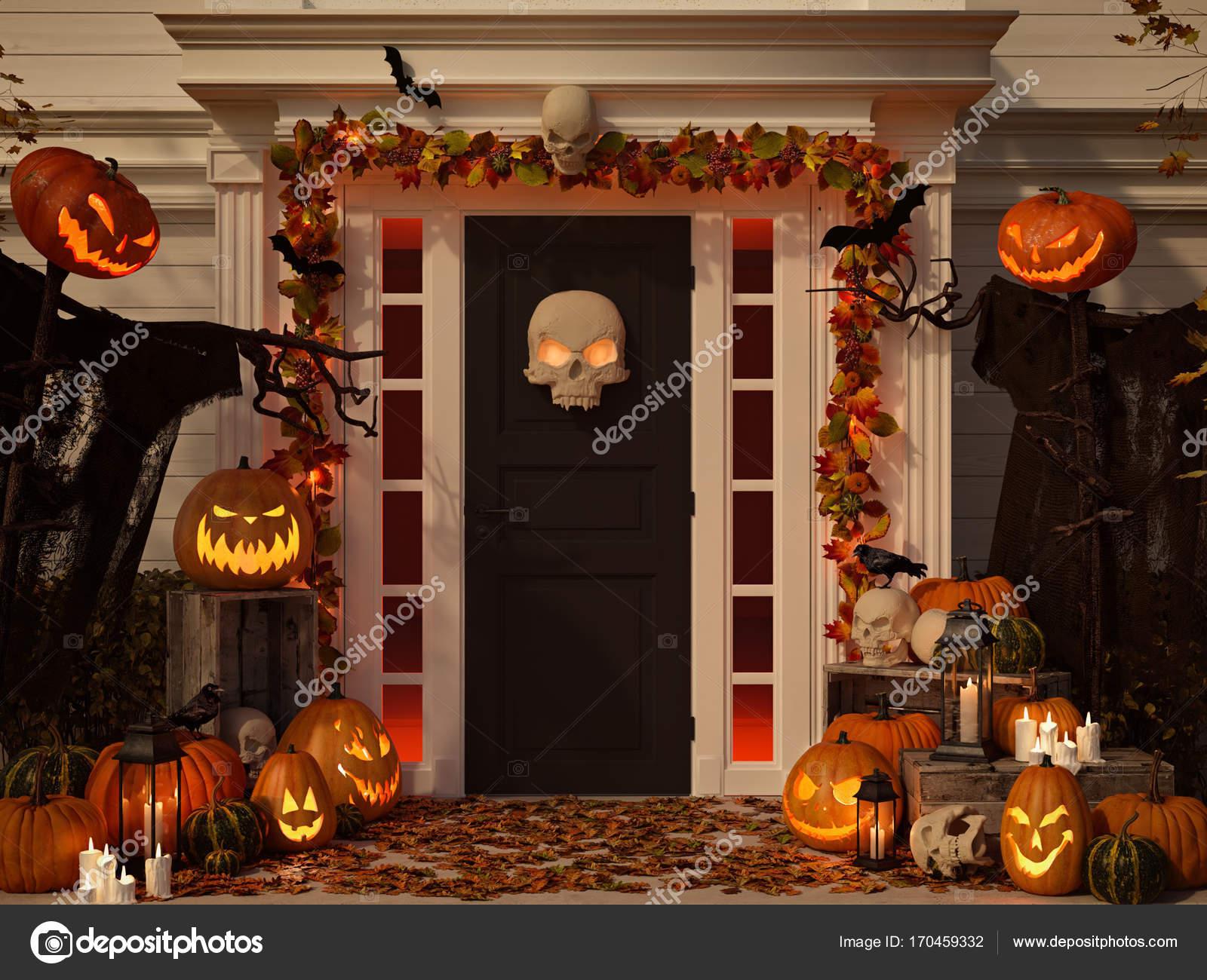 Halloween Haus mit Kürbissen und Totenköpfen dekoriert. 3D-Rendering ...