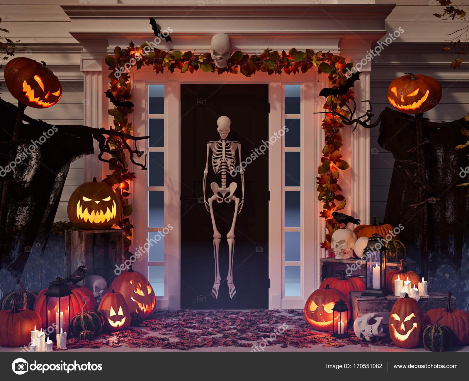 Casa de decoraci n halloween con calabazas y calaveras render 3d foto de stock 2mmedia - Decoracion calabazas halloween ...